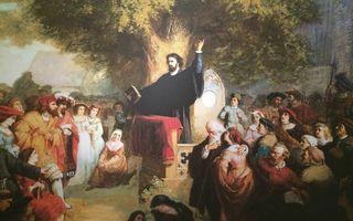 Slüter preekt voor de toegestroomde menigte. beeld Kulturhistorisches Museum Rostock