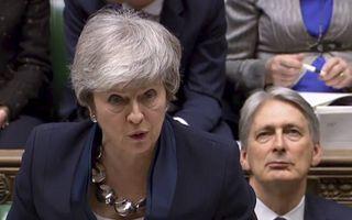 Premier Theresa May dinsdag in het Lagerhuis.beeld AFP