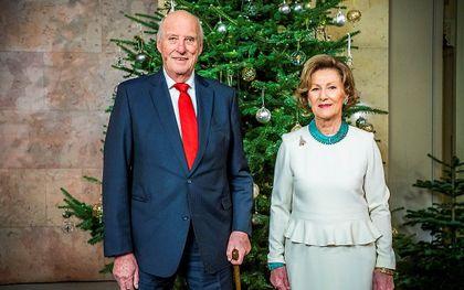 Koning Harald V van Noorwegen, met zijn vrouw koningin Sonja. beeld AFP, Håkon Mosvold Larsen