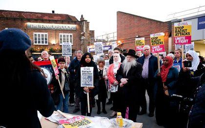 Protestbijeenkomst tegen racisme en antisemitisme. beeld Andrew Fosker/REX/Shutterstock