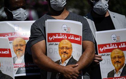 Protest twee jaar na de moord op Khashoggi. beeld AFP, Ozan KOSE