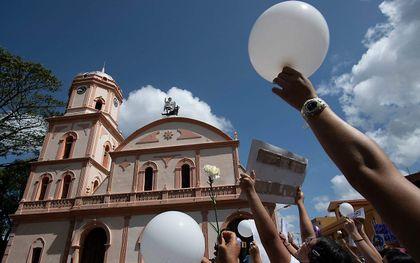 Protest tegen geweld in Venezuela, vorige week. beeld AFP, Yuri Cortez
