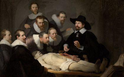 """""""De anatomische les van Dr. Nicolaes Tulp"""" van Rembrandt. beeld collectie Mauritshuis, Den Haag"""