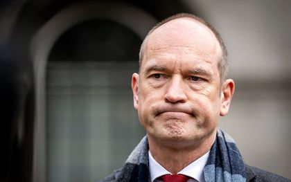 Gert-Jan Segers (ChristenUnie) staat de pers te woord na afloop van een gesprek met informateur Herman Tjeenk Willink (PvdA). beeld ANP REMKO DE WAAL