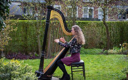 Beroepsmusicus Elsbeth Verheij is blij dat de harp niet alleen een lieflijke, maar ook stoer kant heeft. beeld RD, Henk Visscher