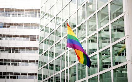 Regenboogvlag bij het stadhuis van Den Haag. beeld ANP, Robin van Lonkhuijsen