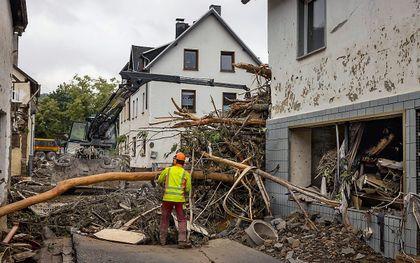 Chaos na de overstromingen in Schuld, in de regio Rijnland-Palts. beeld EPD, Frank Schultze