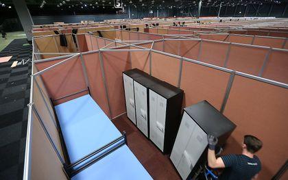 De Friezenhal van het WTC Expo in Leeuwarden werd in maart 2020 ook al eens gebruikt als tijdelijke opvanglocatie voor vluchtelingen. beeld ANP, Catrinus van der Veen