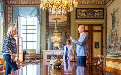 Sigrid Kaag (D66) en Gert-Jan Segers (CU) eind augustus op gesprek bij informateur Mariette Hamer over de kabinetsformatie. beeld ANP, LEX VAN LIESHOUT