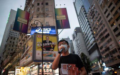 Pro-democratie-activist Joshua Wong Chi-fung in Hongkong, 20 oktober. beeld EPA, Jerome Favre