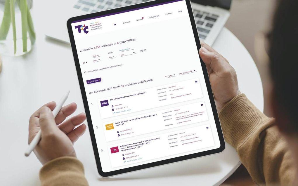 Door het invoeren van zoektermen kunnen de gegevens van duizenden artikelen worden geraadpleegd op de website theologischetijdschriften.nl.beeld Evangelisch College