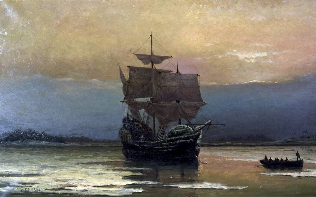 """Mayflower in Plymouth Harbor,"""" by William Halsall, 1882 at Pilgrim Hall Museum, Plymouth, Massachusetts, USA"""