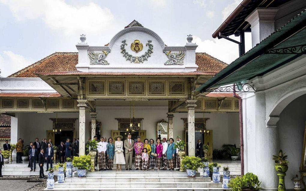 Ontvangst bij de Kraton Nga Yogyakarta Hadiningrat, het paleis van de sultan. Het is het tweede deel van Indonesië dat koning Willem-Alexander en koningin Máxima tijdens hun bezoek aandeden.beeld ANP, Frank van Beek