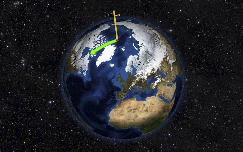 De geografische Noordpool verschuift richting Canada. beeld NASA-JPL