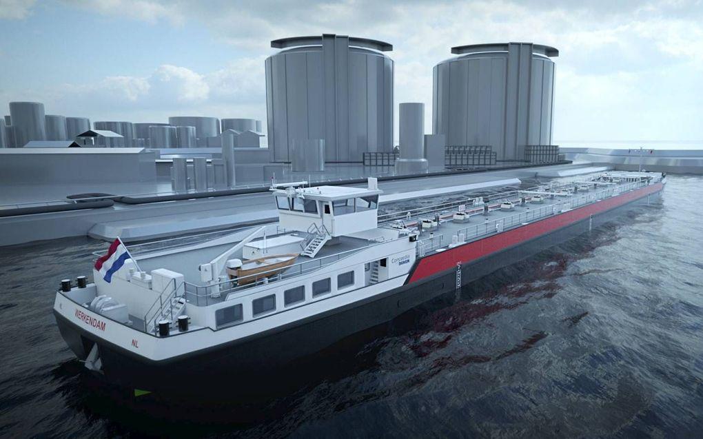 Artistieke impressie van de tanker waarvan Concordia Damen er de komende jaren veertig gaat bouwen. beeld Concordia Damen