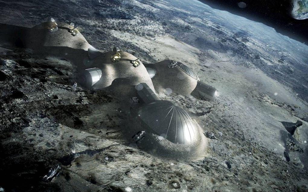 De Europese ruimtevaartorganisatie ESA denkt na over een maandorp dat robots binnen vijf jaar zouden kunnen bouwen.beeld ESA