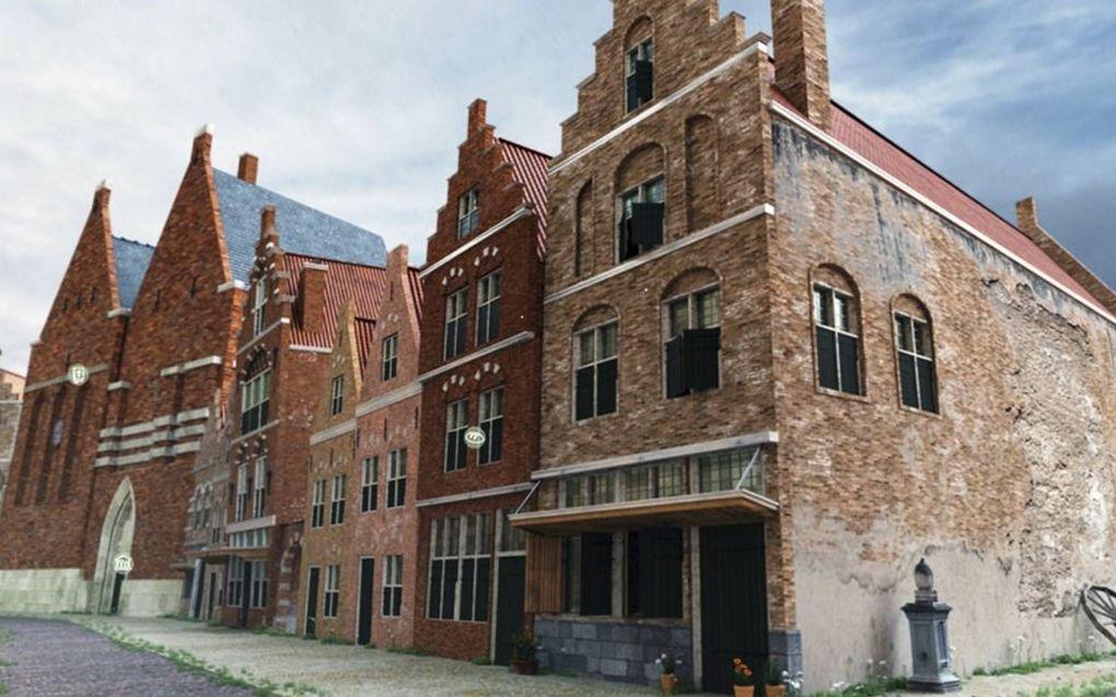 De Voorstraat in Dordrecht in 1618-1619. In het midden de drukkerij van Pieter Verhaghen.beeld Stichting De Verborgen Stad