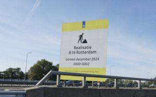 Bord over de uitbreiding van de A16 bij Rotterdam. beeld iStock