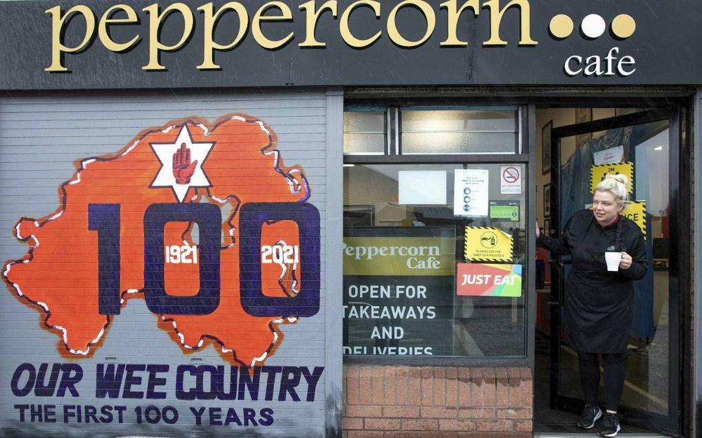 Schildering ter ere van het 100-jarige bestaan van Noord-Ierland in Belfast.beeld AFP, Paul Faith