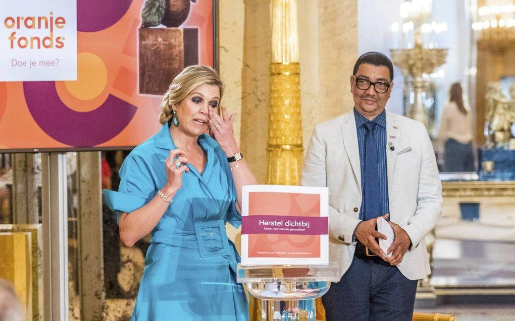 """Koningin Máxima was geraakt tijdens de uitreiking van de Appeltjes van Oranje met het thema """"Mentale kracht"""".beeld ANP, Lex van Lieshout"""