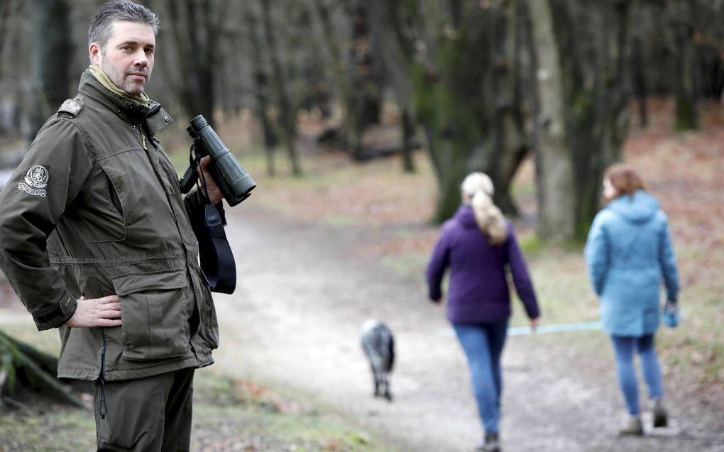 Marcel Kamps controleert in natuurgebied Heumensoord bij Nijmegen op loslopende honden. beeld VidiPhoto