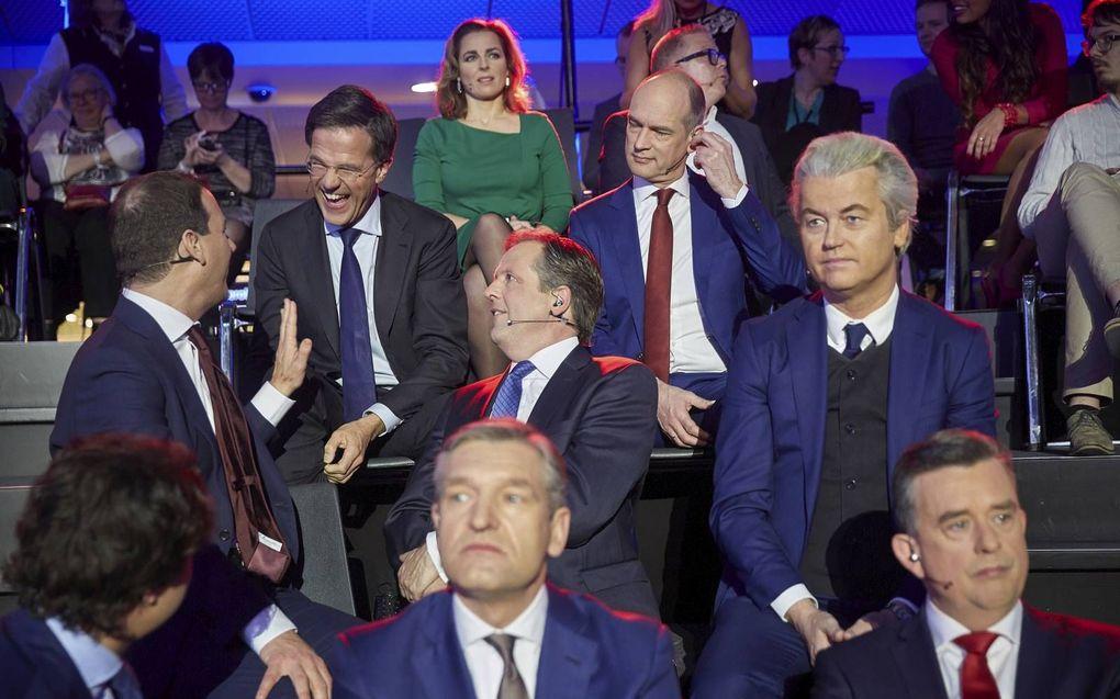 Lijsttrekkers bij het slotdebat van de NOS, een dag voor de Tweede Kamerverkiezingen van 2017.beeld ANP, Phil Nijhuis