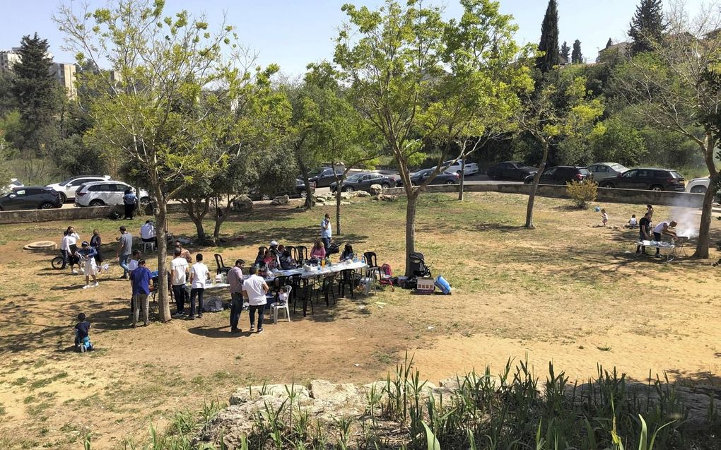 Israëliërs barbecueën in een park.beeld Alfred Muller