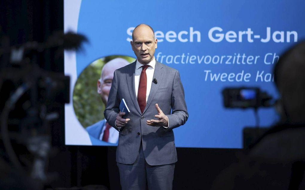 CU-voorman Segers tijdens het digitale congres van zijn partij dat zaterdag vanuit Veenendaal werd uitgezonden.beeld ANP, Jeroen Jumelet