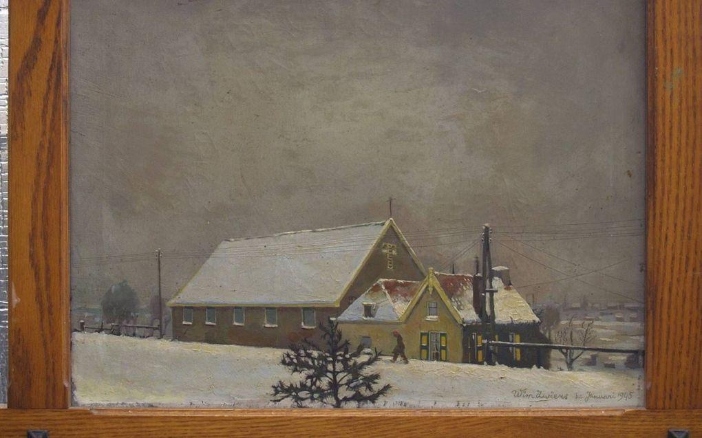 Een onderduiker schilderde de boerderij van de familie Klootwijk.beeld fam. Klootwijk