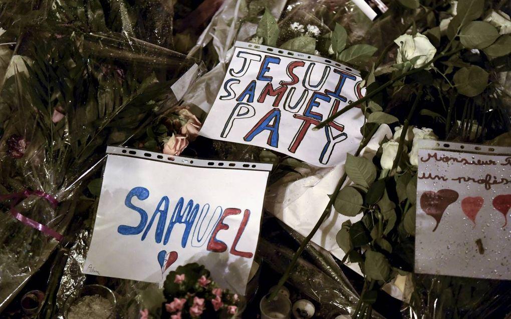 De moord op de Franse leraar Paty leidde tot geschokte reacties.beeld AFP, Bertrand Guay