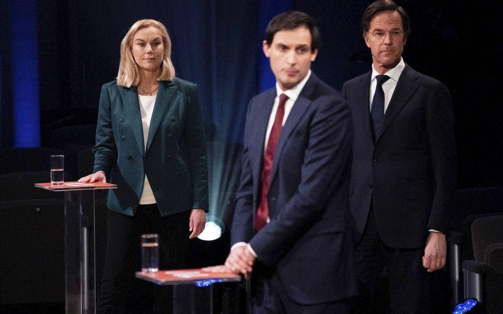 Voorvrouw van D66 Sigrid Kaag, CDA-leider Wopke Hoekstra en VVD-voorman Mark Rutte (v.l.n.r.). beeld ANP, Bart Maat