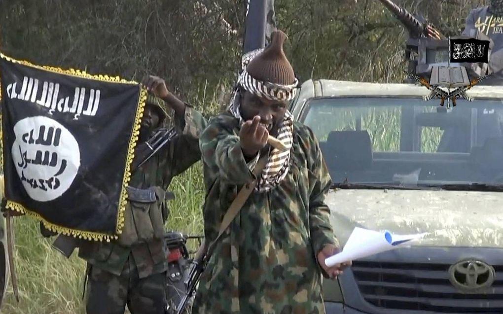 De omgekomen Boko Haramleider Abubakar Shekau op een video uit 2014. Shekau heeft duizenden doden op zijn geweten, van wie de meesten moslim zijn.beeld AFP