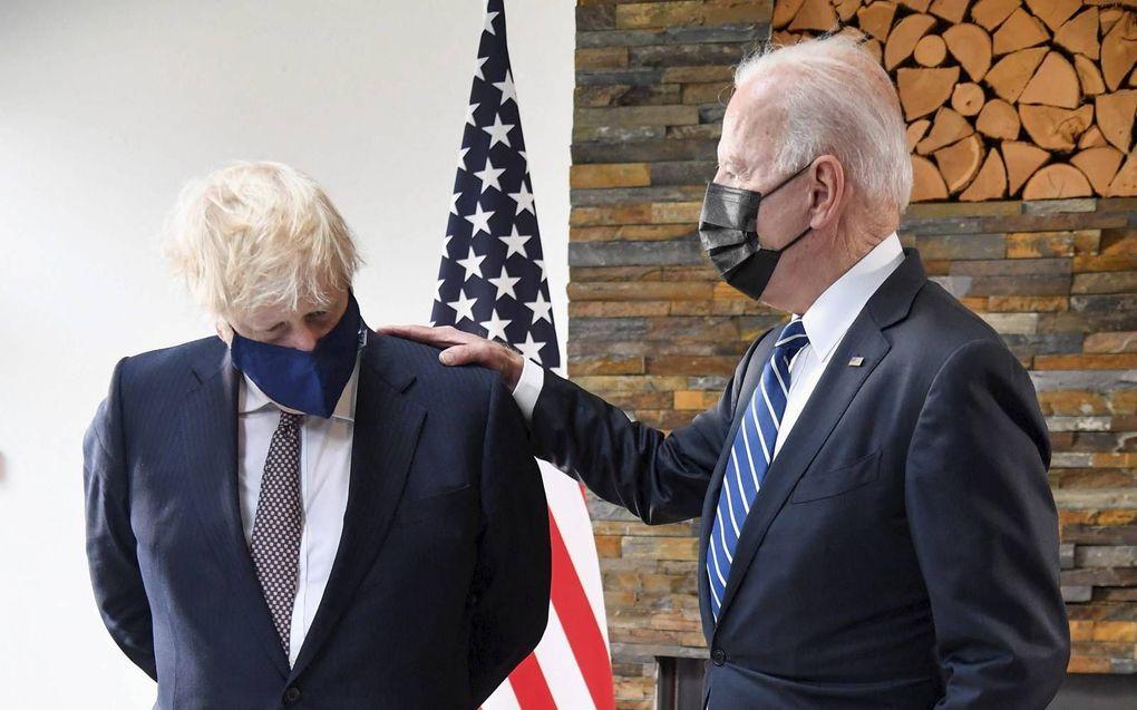 De Amerikaanse president Joe Biden had donderdag een ontmoeting met de Britse premier Boris Johnson in Carbis Bay, in het zuidwesten van Engeland.beeld AFP, Toby Melville