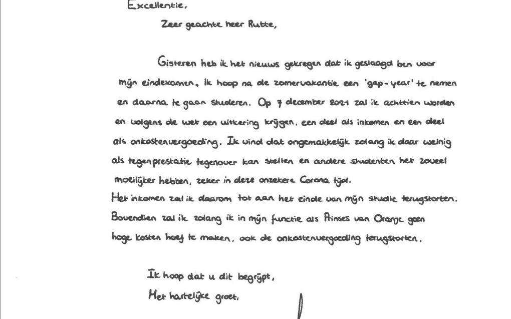 De handgeschreven brief die de kroonprinses premier Rutte vrijdag stuurde.beeld RD