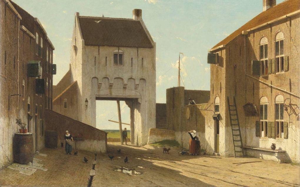 Een stadspoort in Leerdam, Jan Weissenbruch.beeld Rijksmuseum
