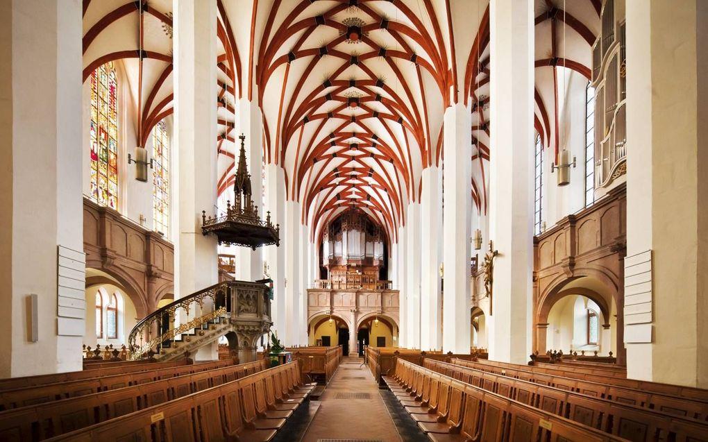 Het nauwkeurig digitaal nabootsen van de klank van een pijporgel heeft ook heel veel te maken met de nagalm van het kerkgebouw. Op de foto: de Lutherse Thomaskerk in Leipzig is beroemd vanwege Johann Sebastian Bach, die er jarenlang cantor was.beeld iStock