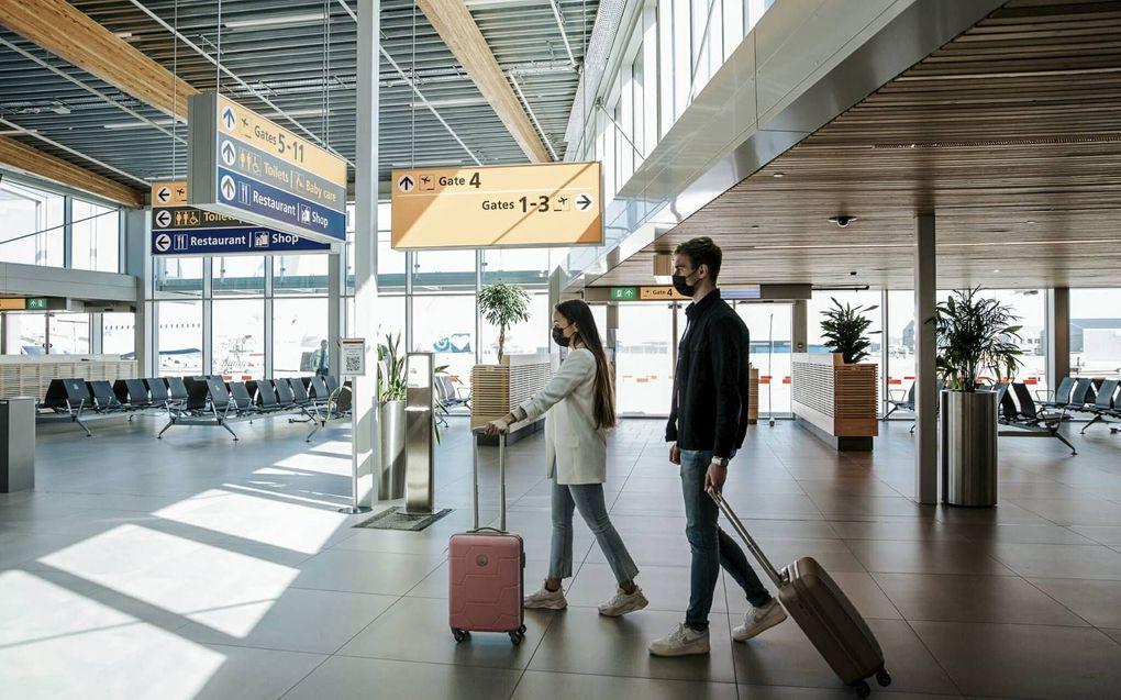 Blik in de nieuwe vertrekhal van Rotterdam Airport. De luchthaven kent in zijn 65-jarige geschiedenis roerige jaren. beeld Samantha Bosdijk