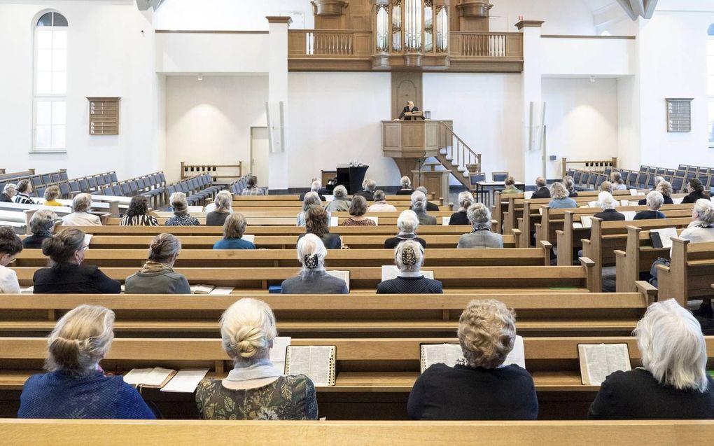 De bondsdag van de Hersteld Hervormde Vrouwenbond had donderdag plaats in de Bethelkerk te Lunteren.beeld Niek Stam