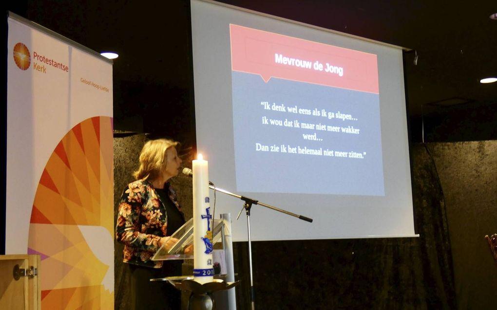 Prof. dr. Anja Machielse sprak op de Landelijke Pastorale Dag in Woerden zaterdag over eenzaamheid.beeld RD