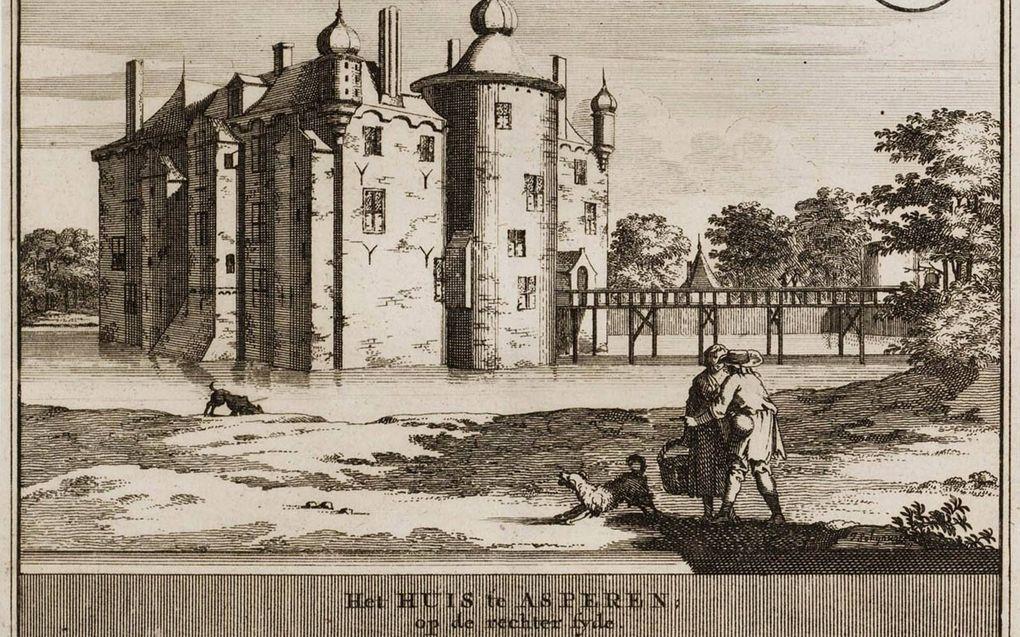 Kasteel Asperen, gravure van Jacobus Schijnvoet. beeld UB Leiden