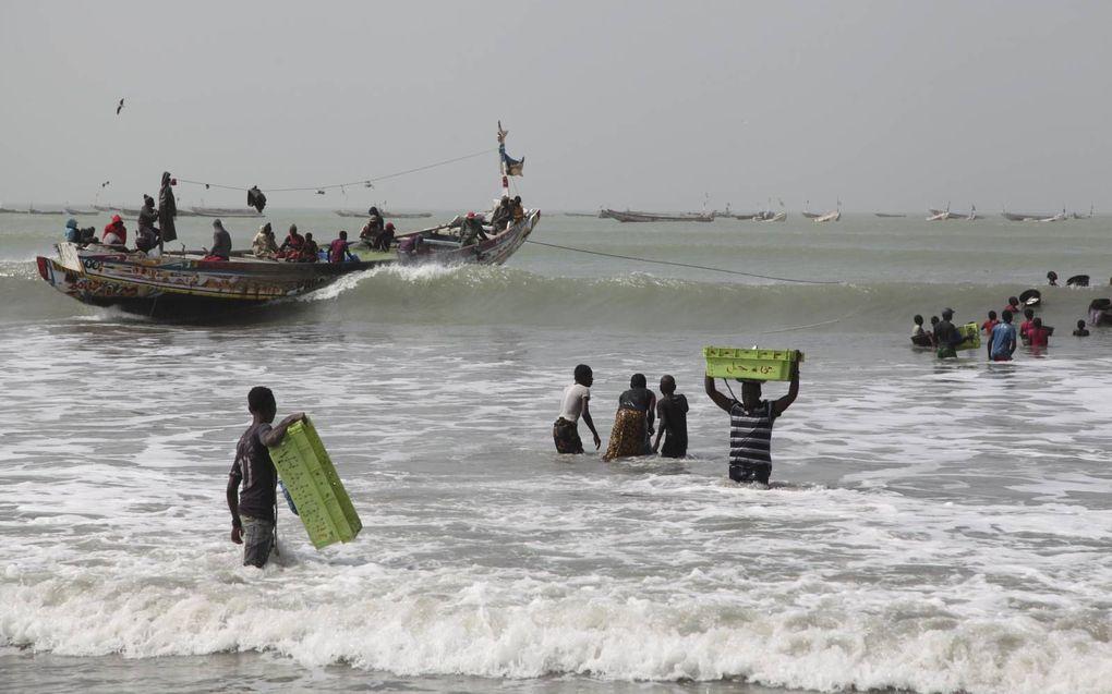Jonge mannen waden met kratten vis op hun hoofd naar de wal.beeld Lex Rietman