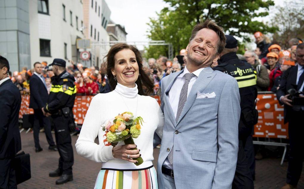 Prins Pieter-Christiaan en prinses Anita tijdens Koningsdag 2019 in Amersfoort.beeld ANP, Frank van Beek