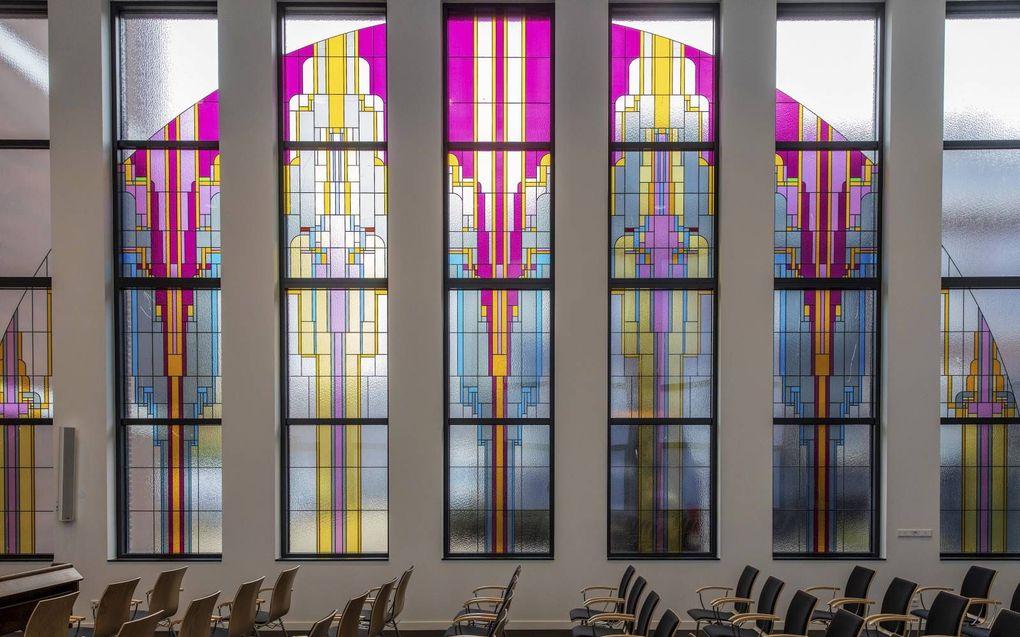 De kerkzaal wordt gebruikt door de gereformeerde gemeente van Rotterdam-Centrum en voor proefpreken door studenten van de Theologische School.beeld RD, Henk Visscher