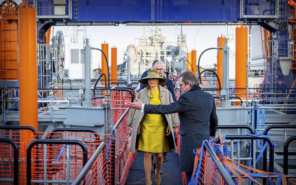 Koningin Máxima bezoekt in 2018 een nieuwe sleephopperzuiger van baggerbedrijf Van Oord. beeld ANP, Patrick van Katwijk
