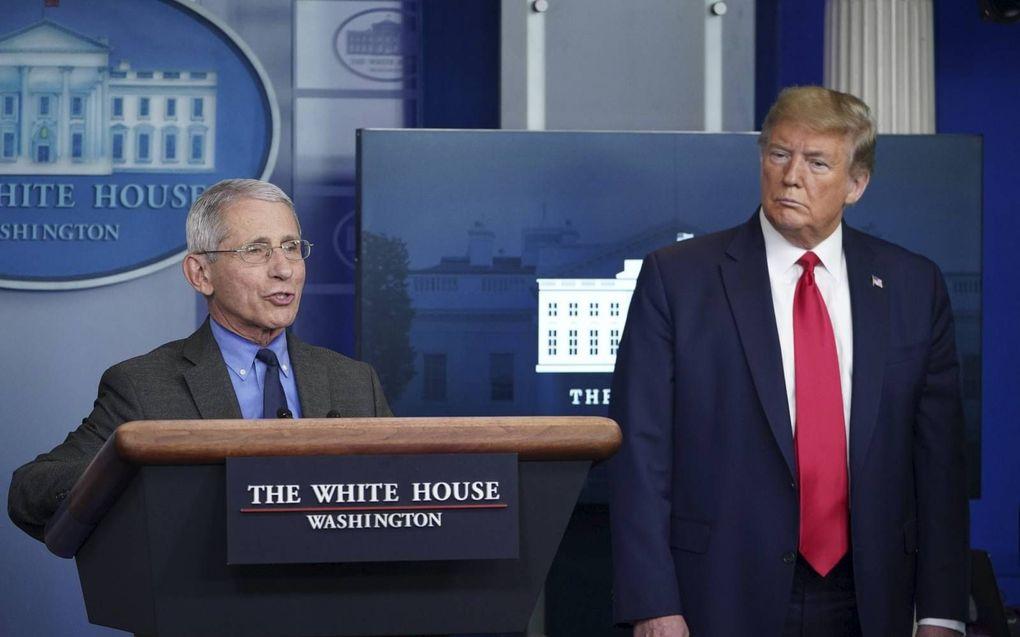 President Trump en viroloog Fauci (l.) tijdens een persconferentie over het coronavirus. beeld AFP