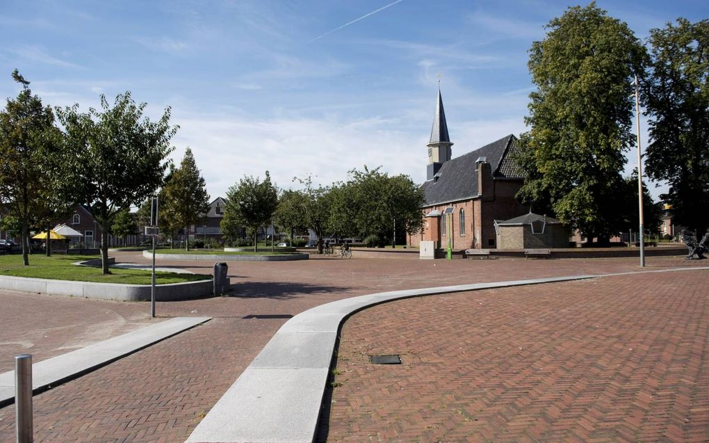 Verlaten plein in het centrum van de Groningse stad Delfzijl. De provincie Groningen heeft te kampen met een daling van het bevolkingsaantal en een toenemende vergrijzing.beeld ANP, Piroschka van de Wouw