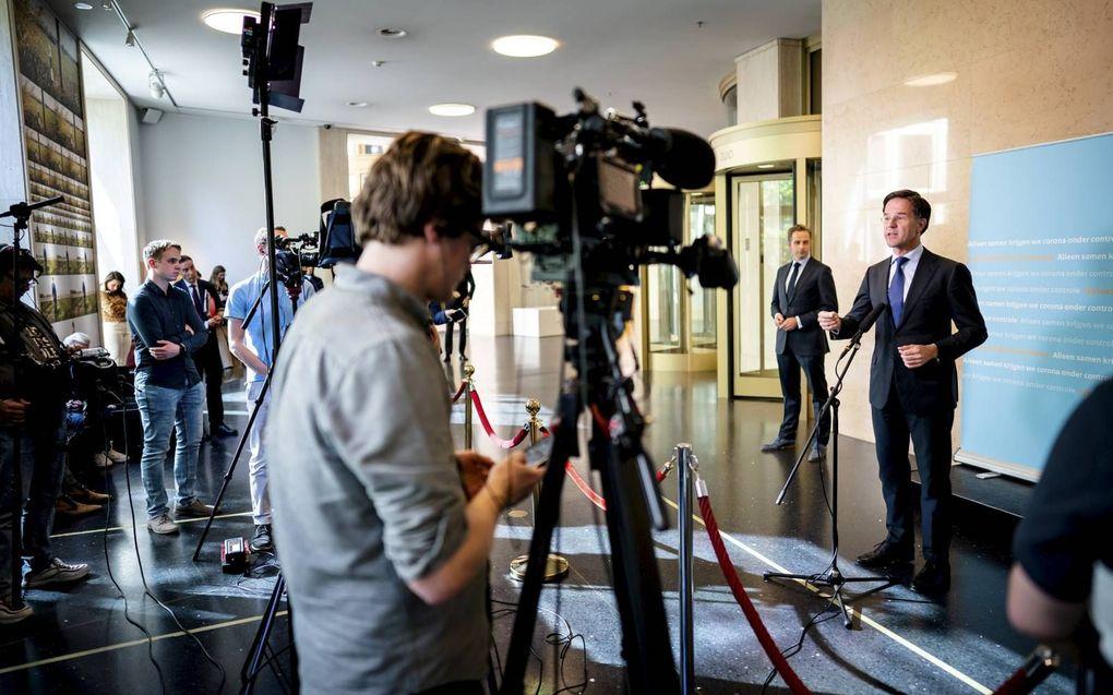 Premier Rutte, tijdens een persgesprek deze week over de coronacrisis. beeld ANP, Bart Maat