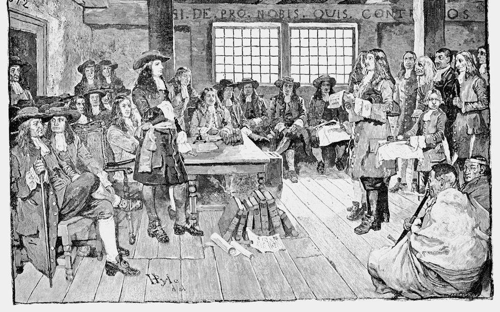 Quaker bijeenkomst Op deze afbeelding is William Penn (1644-1718) zichtbaar. beeld Getty images