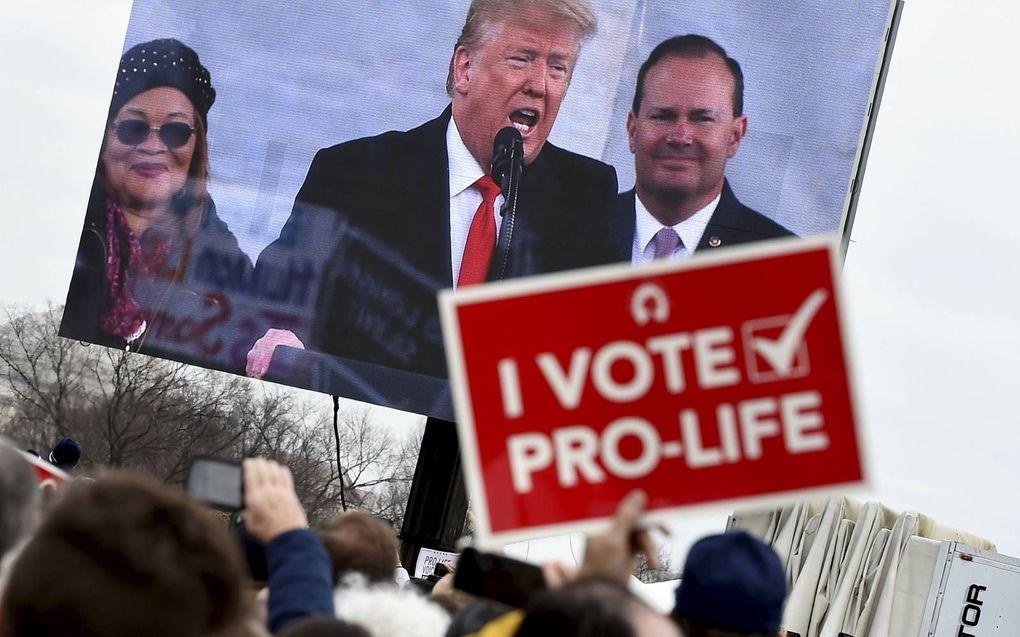 """""""Donald Trump is de meest principiële pro-lifepresident uit de moderne geschiedenis"""", zegt de Amerikaanse evangelicale opinieleider Albert Mohler. Hij stemde in 2016 niet op Trump, maar doet dat dit jaar wel.beeld AFP, Olivier Douliery"""