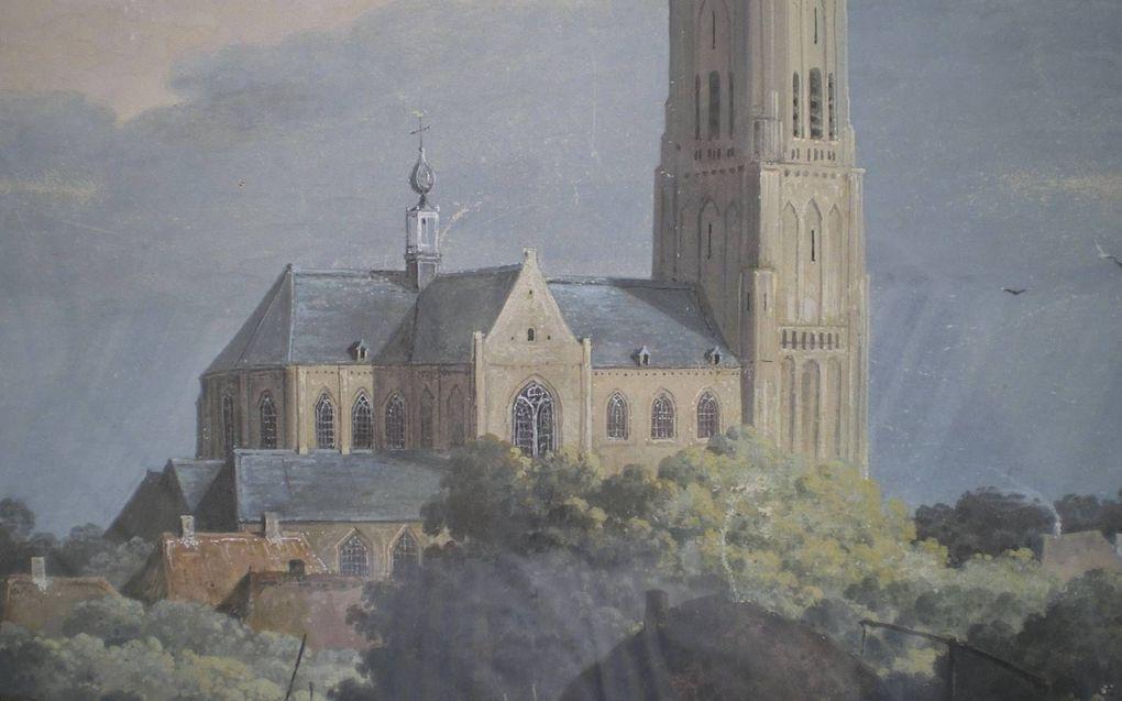 """""""Gezicht op Oirschot"""", schilderij van Mattheus Derk Knip.beeld Metzemaekers"""